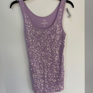 NWT Old Navy purple tank top clear sequins front S